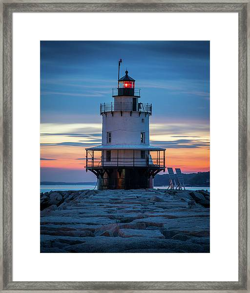 Spring Point Ledge Light Blue Hour II Framed Print