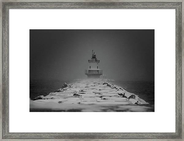 Spring Point Ledge Lighthouse Blizzard In Black N White Framed Print