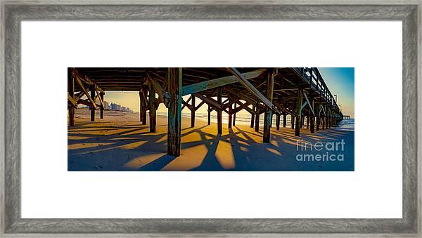 Springmaid Pier At Sunrise Framed Print