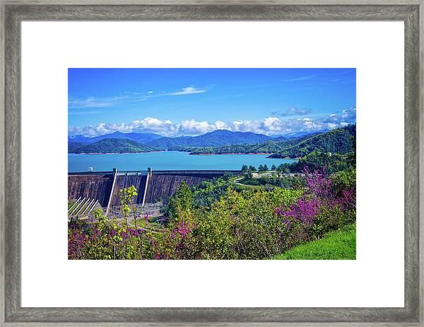 Springtime At Shasta Lake Dam Framed Print