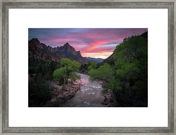 Springtime Sunset At Zion National Park Framed Print