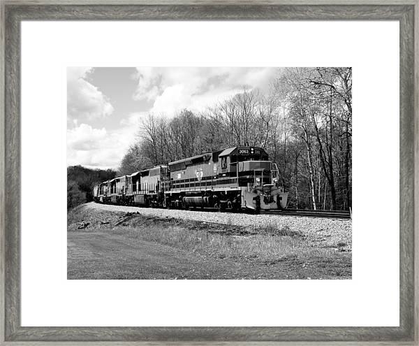 Sprintime Train In Black And White Framed Print