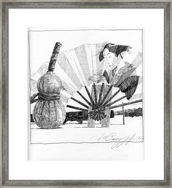 Spirit Of Japan. Pumpkin Jar And Fan Framed Print