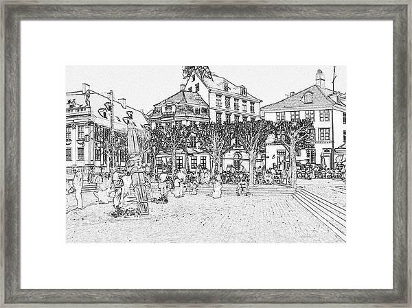 Square In Copenhagen At Nyhavn Framed Print by Sascha Meyer