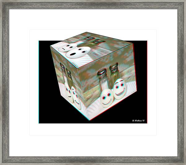 Square Meal - Use Red-cyan 3d Glasses Framed Print