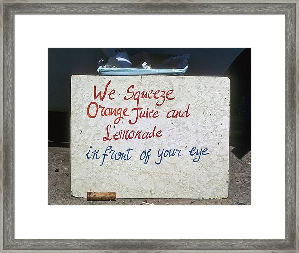 Squeezed Juice Sign Framed Print