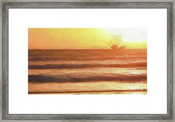 Squid Boat Sunset Framed Print