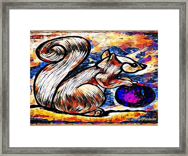 Squirrel With Christmas Ornament Framed Print