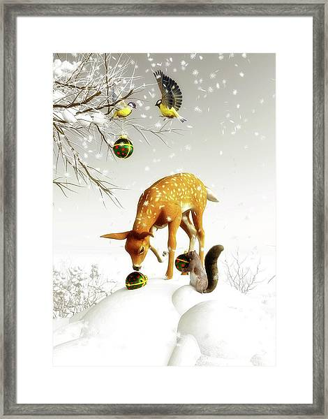 Framed Print featuring the painting Squirrels And Deer Christmas Time by Jan Keteleer