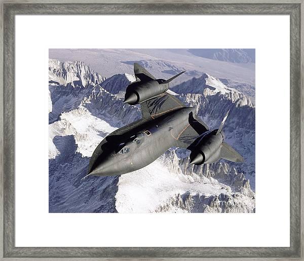 Sr-71b Blackbird In Flight Framed Print