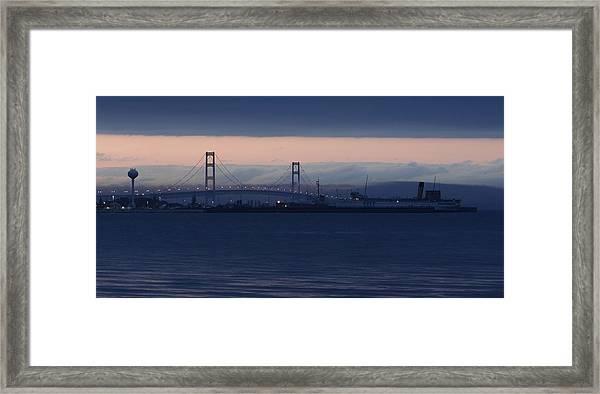 Ss Keewatin And Mackinac Bridge Framed Print
