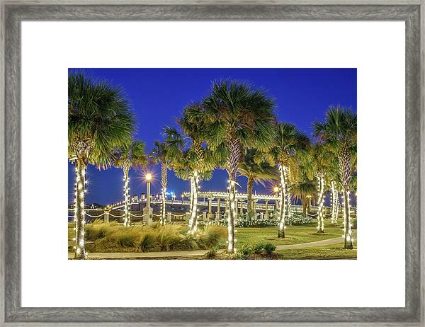 St. Augustine Bayfront Park During Nights Of Lights Framed Print
