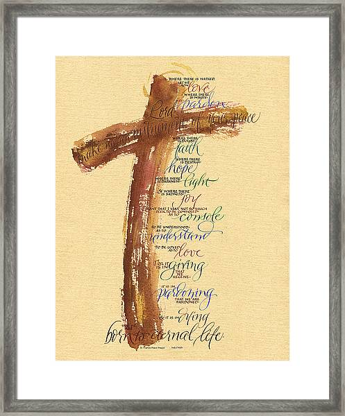 St Francis Peace Prayer  Framed Print