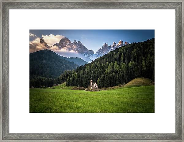 St. Johann Church In Val Di Funes Framed Print