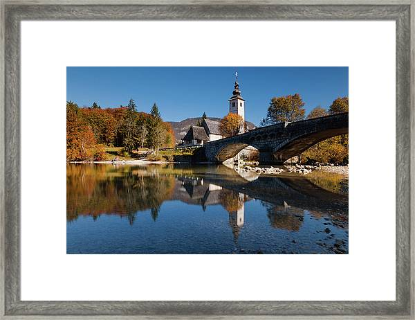 St. John The Baptist On The Lake Bohinj Framed Print