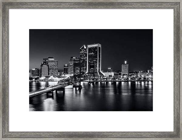 St Johns River Skyline By Night, Jacksonville, Florida In Black And White Framed Print