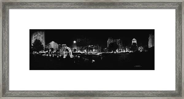St. Louis City Garden Night Bw For Glass Framed Print
