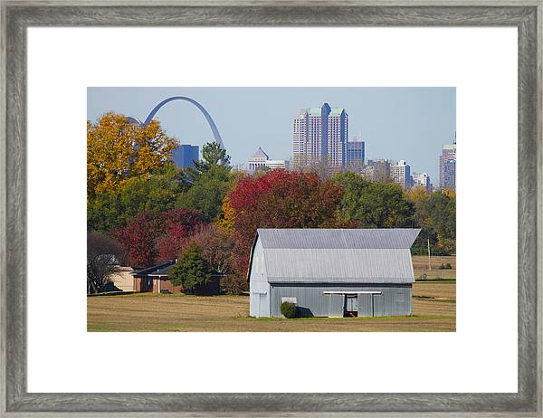 St Louis Skyline From Illinois Framed Print