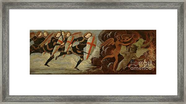 St. Michael And The Angels At War With The Devil Framed Print