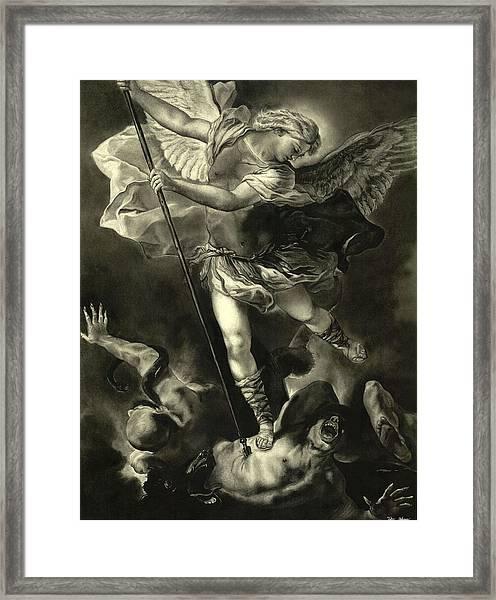 St. Michael Vanquishing The Devil Framed Print