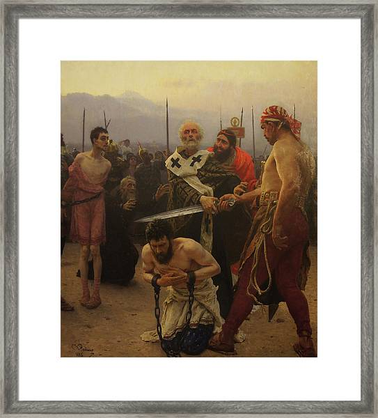 St. Nicholas Saves Three Innocents From Death Framed Print by Ilya Repin