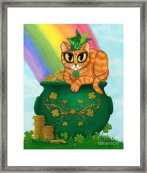 St. Paddy's Day Cat - Orange Tabby Framed Print