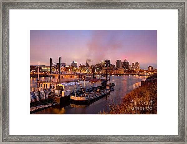 St Paul Minnesota Its A River Town Framed Print