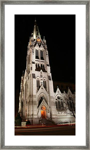 St. Xavier Full Height At Night Framed Print