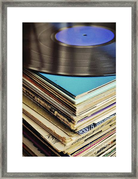 Stack Of Records Framed Print