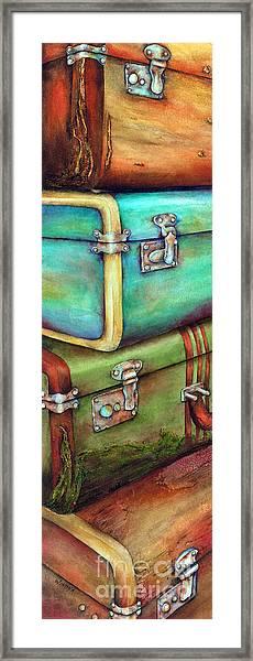 Stacked Vintage Luggage Framed Print