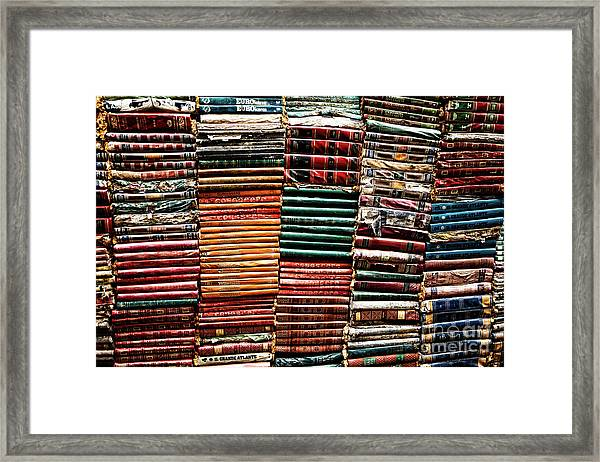 Stacks Of Books Framed Print