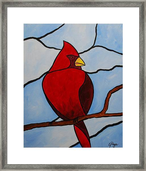 Stained Glass Cardinal Framed Print