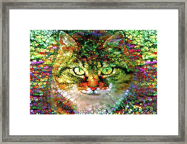 Stained Glass Cat Framed Print