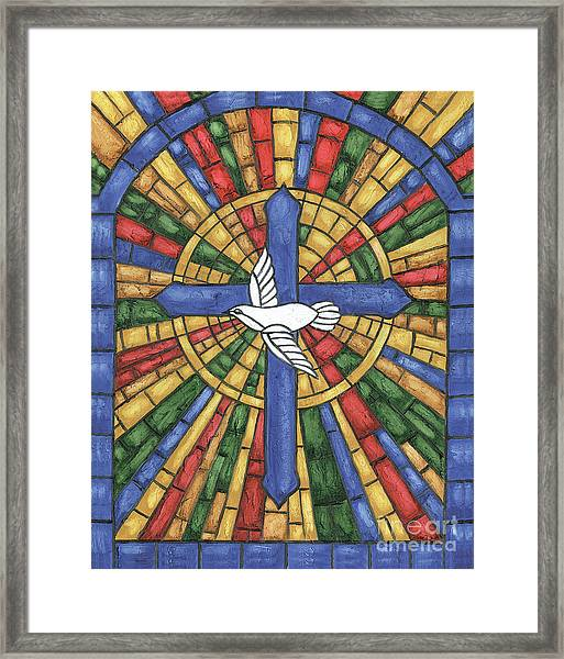 Stained Glass Cross Framed Print