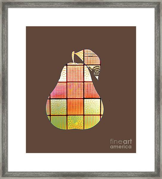 Stained Glass Pear Framed Print