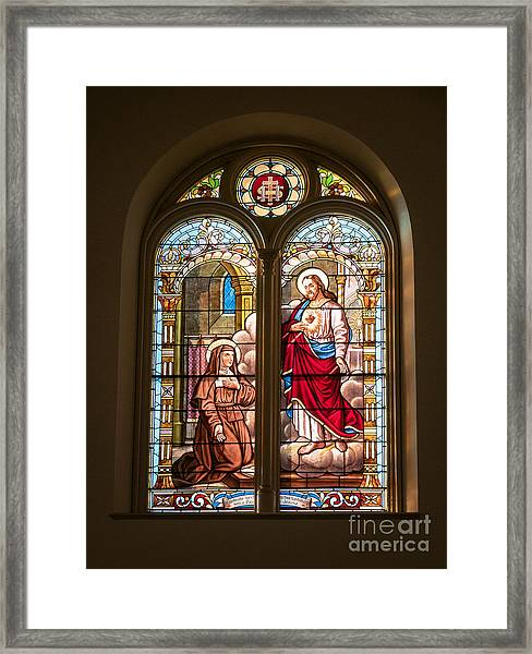 Framed Print featuring the photograph Stained Glass St. Stainslaus Winona Minnesota by Kari Yearous