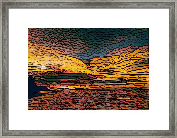 Stained Glass Sunset Framed Print