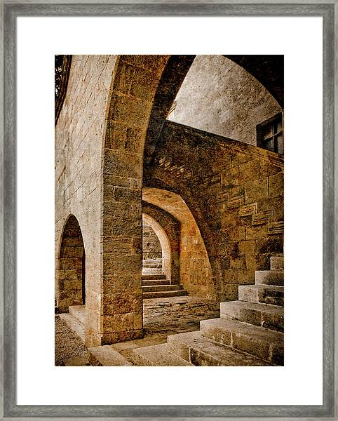 Framed Print featuring the photograph Rhodes, Greece - Stair by Mark Forte