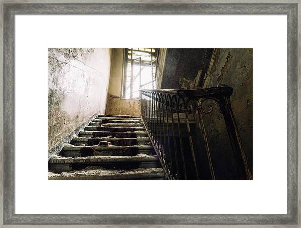 Stairs In Haunted House Framed Print