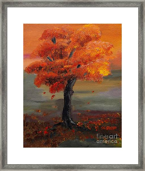 Stand Alone In Color - Autumn - Tree Framed Print