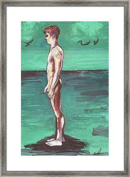 Standig On A Cold Beach With Hesitation  Framed Print