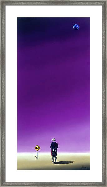 Standing Alone Waiting For The Bowling Balls To Fall When Night Comes Framed Print