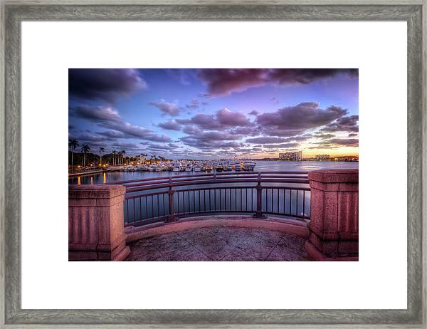 Standing On The Bridge Framed Print