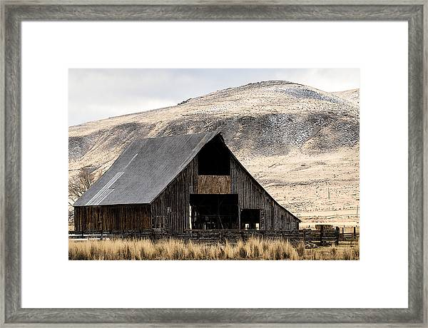 Standish Barn In Winter Framed Print by The Couso Collection