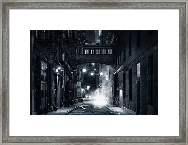 Staple Street Skybridge By Night Framed Print