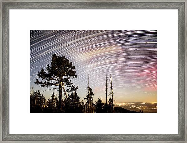 Star Trails At Fort Grant Framed Print