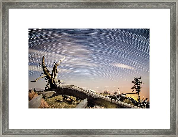 Star Trails By Fort Grant Framed Print