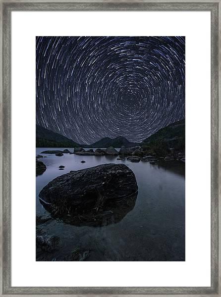 Star Trails Over Jordan Pond Framed Print