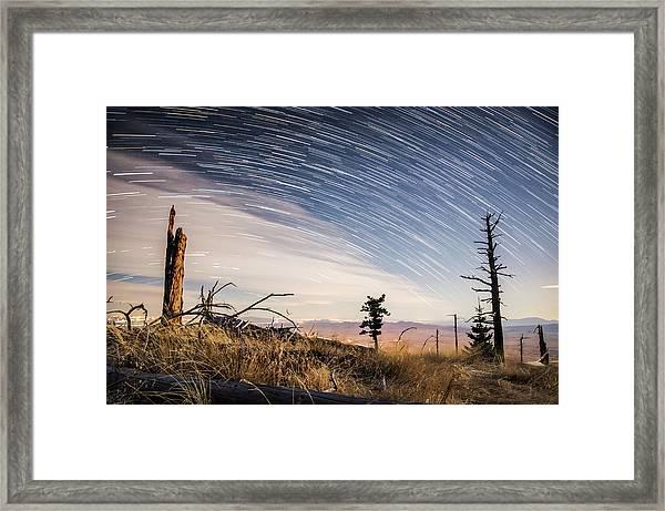 Star Trails Over Mt. Graham Framed Print