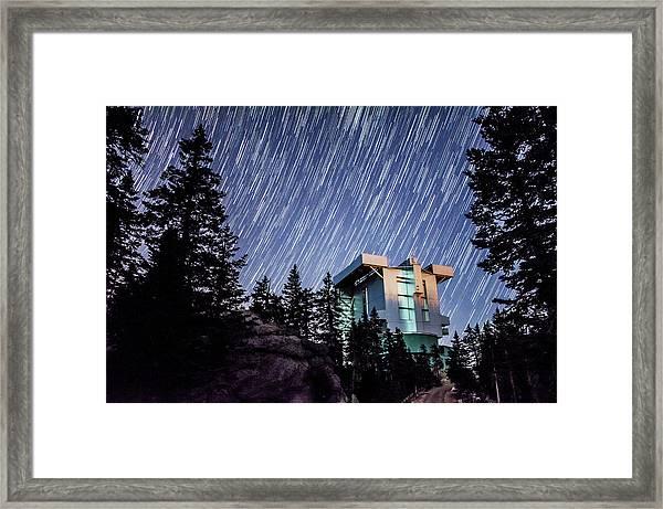 Star Trails Over The Large Binocular Telescope Framed Print